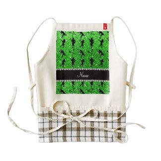Custom name lime green glitter lacrosse players zazzle HEART apron