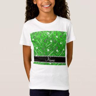 Custom name lime green glitter lacrosse sticks T-Shirt