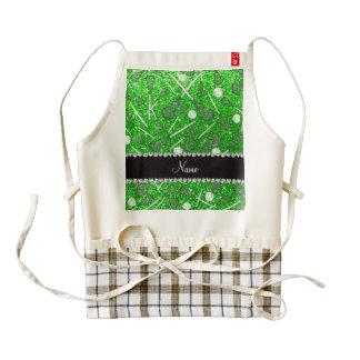 Custom name lime green glitter lacrosse sticks zazzle HEART apron