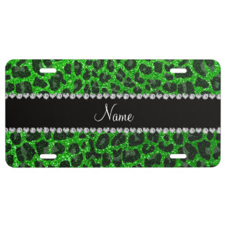 Custom name lime green glitter leopard print license plate