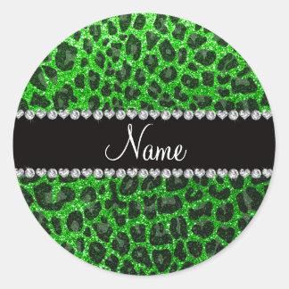 Custom name lime green glitter leopard print sticker