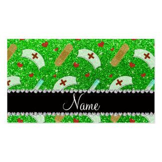 Custom name lime green glitter nurse hats heart business cards