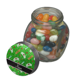 Custom name lime green glitter nurse hats heart jelly belly candy jar