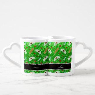 Custom name lime green glitter nurse hats heart couples' coffee mug set