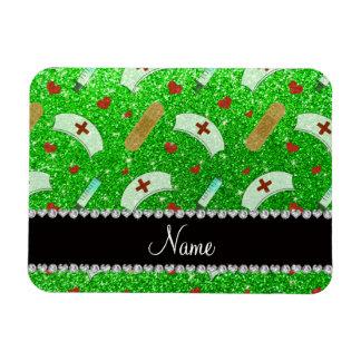 Custom name lime green glitter nurse hats heart rectangle magnet