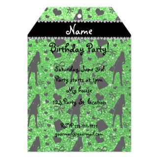 Custom name lime green glitter shopping 5x7 paper invitation card