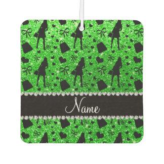 Custom name lime green glitter shopping
