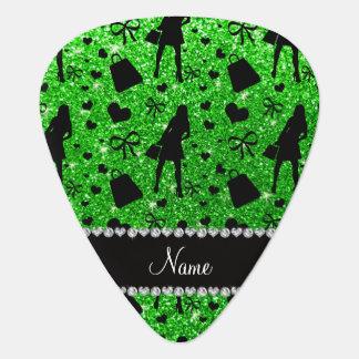 Custom name lime green glitter shopping guitar pick