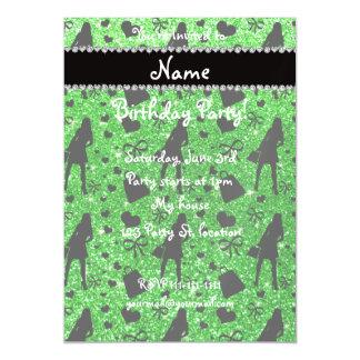 Custom name lime green glitter shopping magnetic invitations