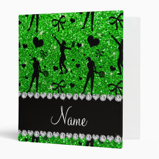 Custom name lime green glitter tennis hearts bows 3 ring binder