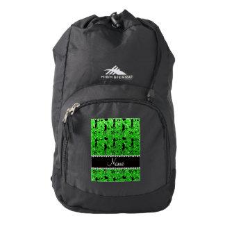 Custom name lime green glitter tennis hearts bows backpack
