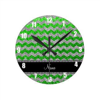 Custom name lime green silver glitter chevrons round wall clocks