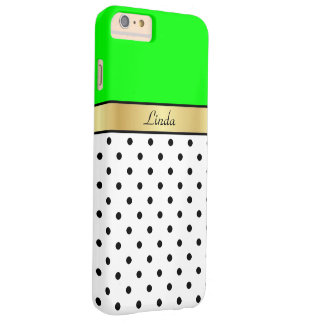 Custom Name Lime Green, White & Black Polka Dots Barely There iPhone 6 Plus Case