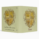 Custom name Lion Crest Fleur De Lis Shield Vinyl Binders