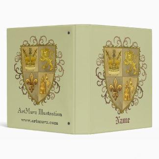 Custom name Lion Crest Fleur De Lis Shield Binder