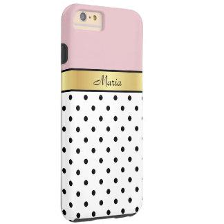 Custom Name Lip Gloss Pink, White Black Polka Dots Tough iPhone 6 Plus Case
