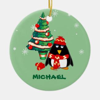 Custom Name. Little Penguin Christmas Ornament