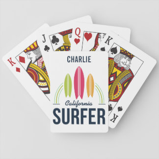 Custom Name & Location Surfer playing cards