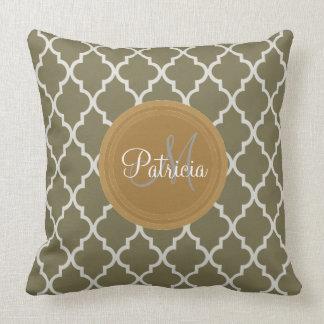 Custom Name Loden Dark Green, Quatrefoil Monogram Pillow