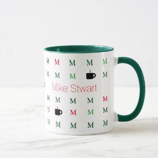 custom name & M initial . mug_modern green Mug
