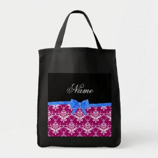 Custom name magenta pink damask blue glitter bow bag