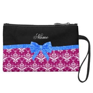 Custom name magenta pink damask blue glitter bow wristlet purse