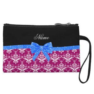 Custom name magenta pink damask blue glitter bow wristlets