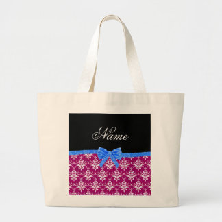 Custom name magenta pink damask blue glitter bow canvas bag