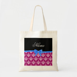 Custom name magenta pink damask blue glitter bow tote bags