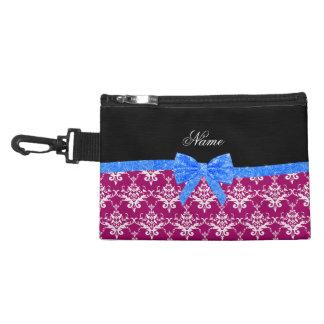 Custom name magenta pink damask blue glitter bow accessories bag
