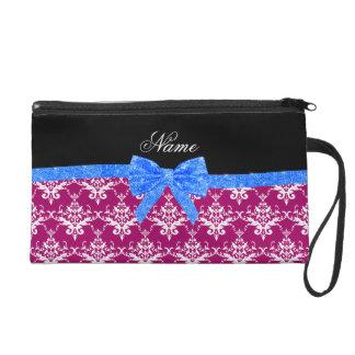 Custom name magenta pink damask blue glitter bow wristlet purses