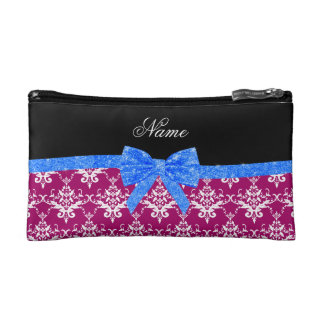 Custom name magenta pink damask blue glitter bow cosmetic bags