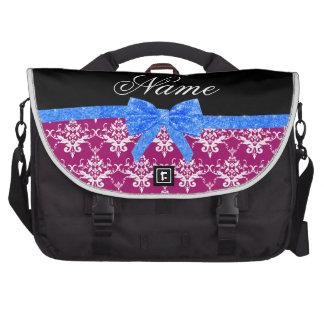 Custom name magenta pink damask blue glitter bow laptop bags