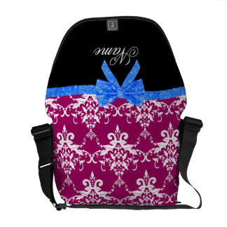 Custom name magenta pink damask blue glitter bow courier bags