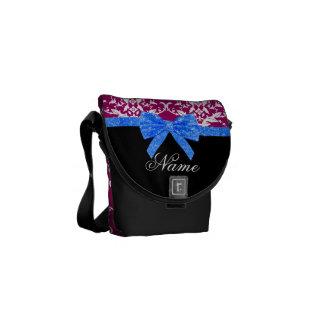 Custom name magenta pink damask blue glitter bow courier bag