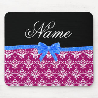 Custom name magenta pink damask blue glitter bow mouse pads