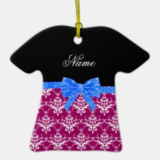 Custom name magenta pink damask blue glitter bow christmas ornaments