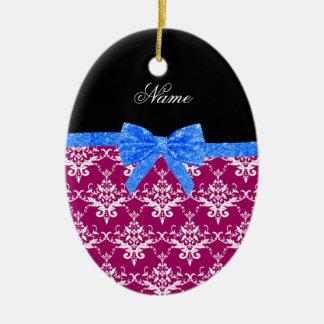 Custom name magenta pink damask blue glitter bow ornaments