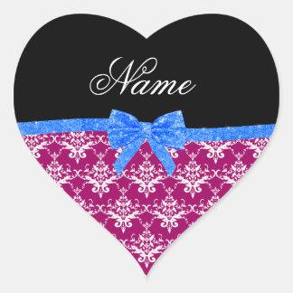 Custom name magenta pink damask blue glitter bow heart sticker