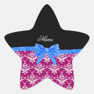 Custom name magenta pink damask blue glitter bow star sticker