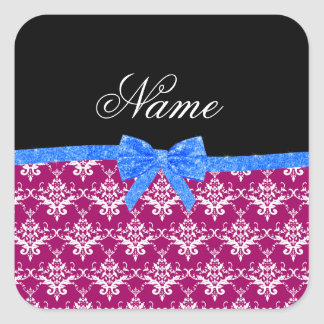 Custom name magenta pink damask blue glitter bow sticker
