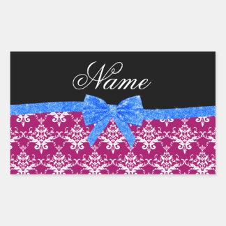 Custom name magenta pink damask blue glitter bow rectangular sticker