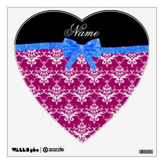 Custom name magenta pink damask blue glitter bow wall skins