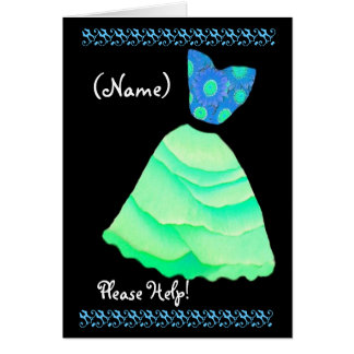 CUSTOM NAME Maid of Honor  Invitation GREEN Gown Greeting Cards