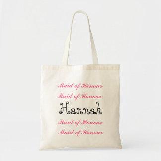 Custom Name MAID OF HONOUR Bag Pink Black Script