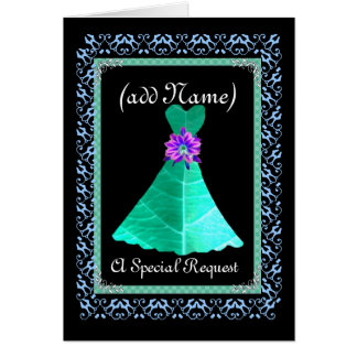CUSTOM NAME Maid of Honour TEAL GREEN Gown Card
