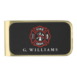 Custom Name Maltese Cross Gold Finish Money Clip