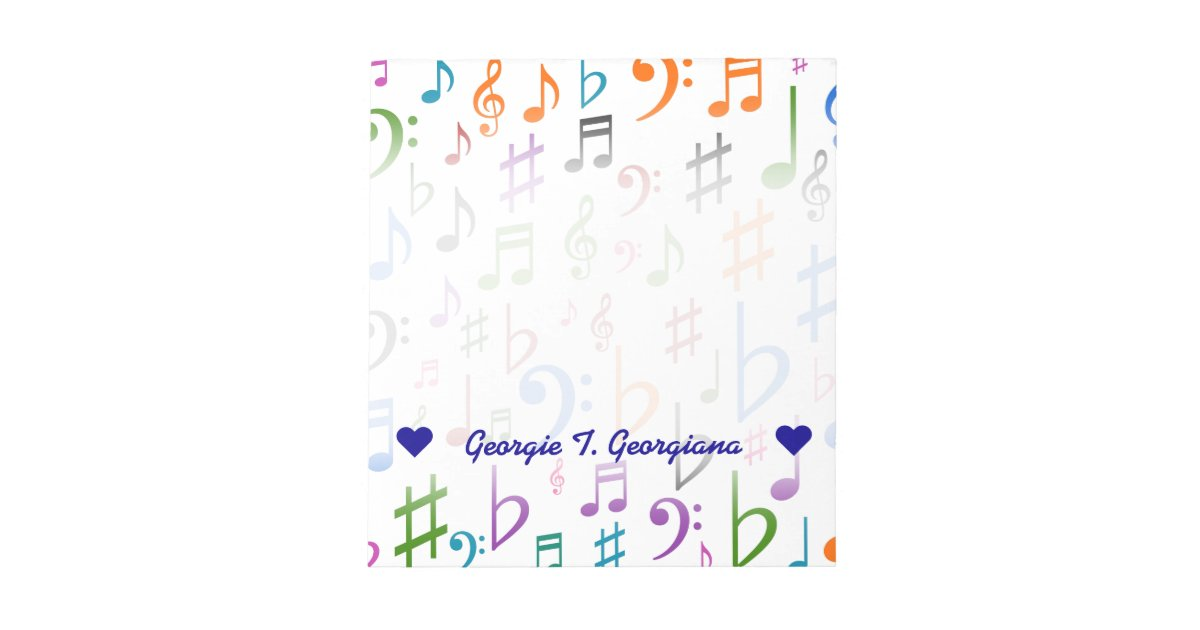 Custom Name Many Colorful Music Notes And Symbols Zazzle