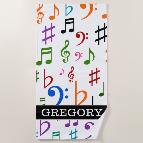 Custom Name; Many Colorful Music Notes and Symbols Beach Towel