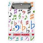 [ Thumbnail: Custom Name; Many Colorful Music Notes and Symbols Clipboard ]